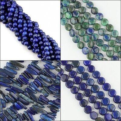 Natural Lapis Lazuli Round Ball Coin Sticks Loose Beads 3mm 4mm 6mm 8mm 10mm (Lapis Lazuli Coin)