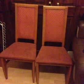 Solid oak and upholstered six dining chairs