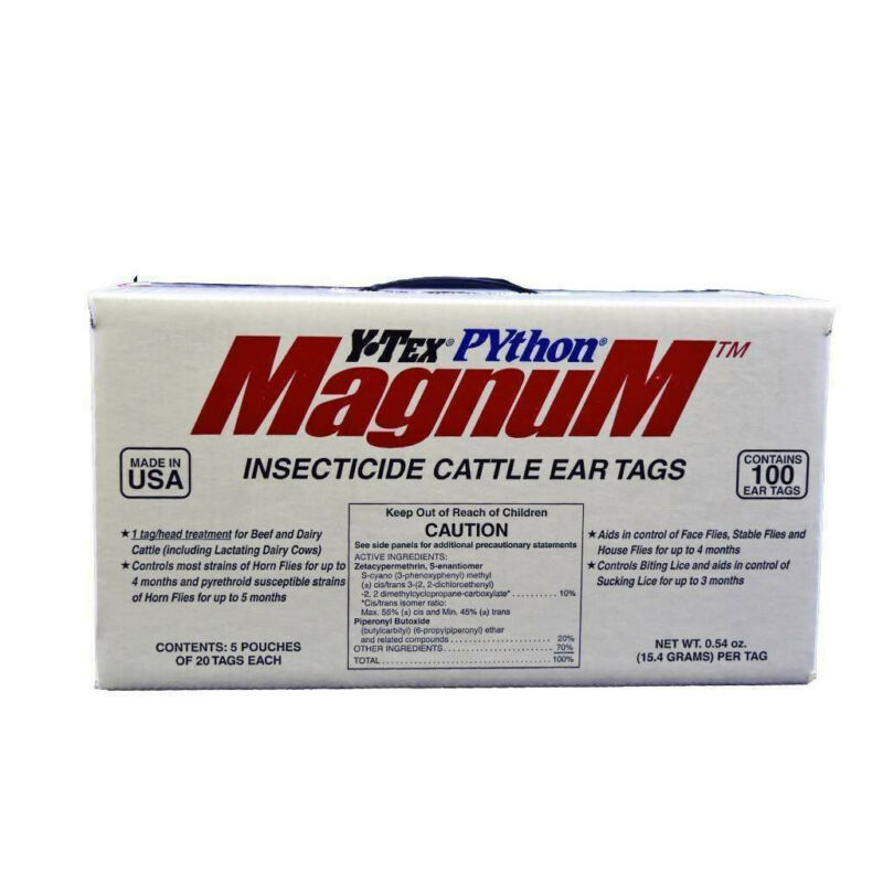 Python Magnum Insecticide Fly Ear Tags 100 Pack Cattle Cows Calf
