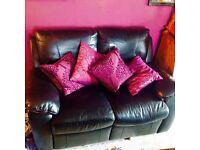 2 seater black reclining sofa