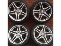 Mercedes Benz 19 inch alloy wheels & 245 40 tyres C E Class Silver 5 double spokes just off a Vito