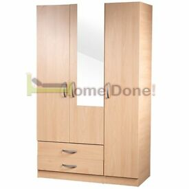 **14-DAY MONEY BACK GUARANTEE!** Ready Built 3 Door Wardrobe Fully Assembled - DELIVERED SAME DAY!