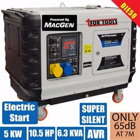 Jefferson TOOLS 10 1/2 HP Super Silent Diesel Generator 6.3kva / 5.0kw