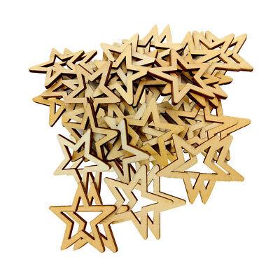 50er 30mm Unfinished Holz Form Stern Verzierungen für Woodcraft Scrapbook