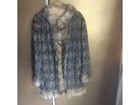 Vintage suede and faux fur coat