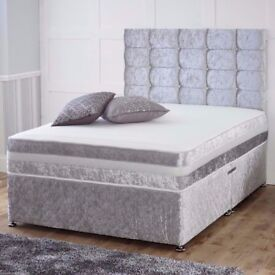 🔥🔥💖🔥SAME DAY FREE DELIVERY🔥🔥NEW 4FT6 CRUSHED VELVET DIVAN BED BASE w 9inch Deep Quilt MATTRESS