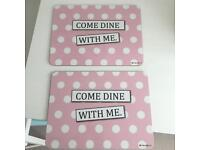 Two 'Come dine with me' placemats