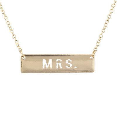 Lux Accessories Gold Tone Mrs. Bride Bachelorette Cutout Bar Pendant Necklace](Bachelorette Necklaces)