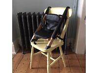 Toddler handysitt booster seat/chair.baby highchair.wood & leather.bargain