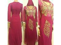 Indian Pakistani Asian kameez Party Wear Long Gown prom Dress wedding Dress UK S