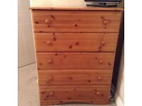 Large set of pine drawers(5 drawers) Part of the'Millbourne' Range. Good condition