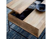 Beautiful Coffee table - SOLID WOOD. Pull up, with storage- WEST ELM