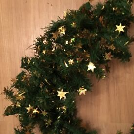 Green Christmas garland ( s ) decorations with gold stars / new