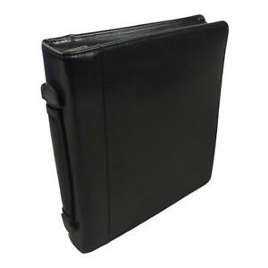NEW Samsill Leather Portfolio Zipper Closure, 1 inch Ring Binder, Carry Handle, 8.5 Inch x 11 Inch