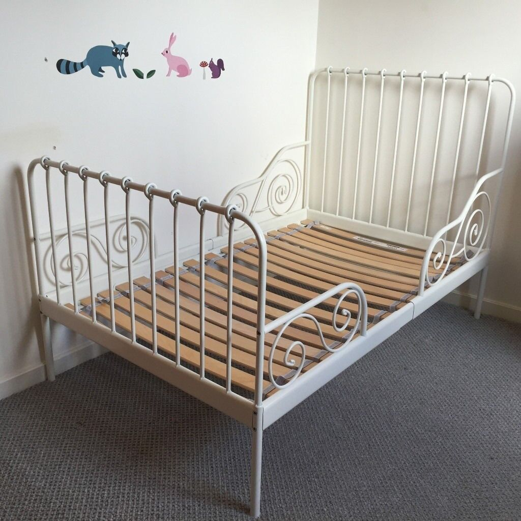 White Metal Ikea Toddler Bed Frame Minnen