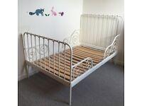 White metal ikea toddler bed frame MINNEN