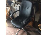 Black leather-look adjustable office chair