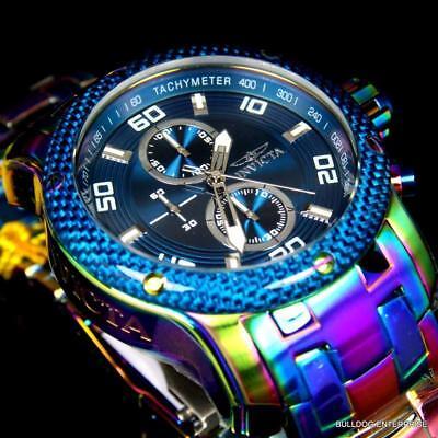 Gents Carbon - Invicta Pro Diver Scuba Carbon 1.0 48mm Chronograph Iridescent Blue Watch New