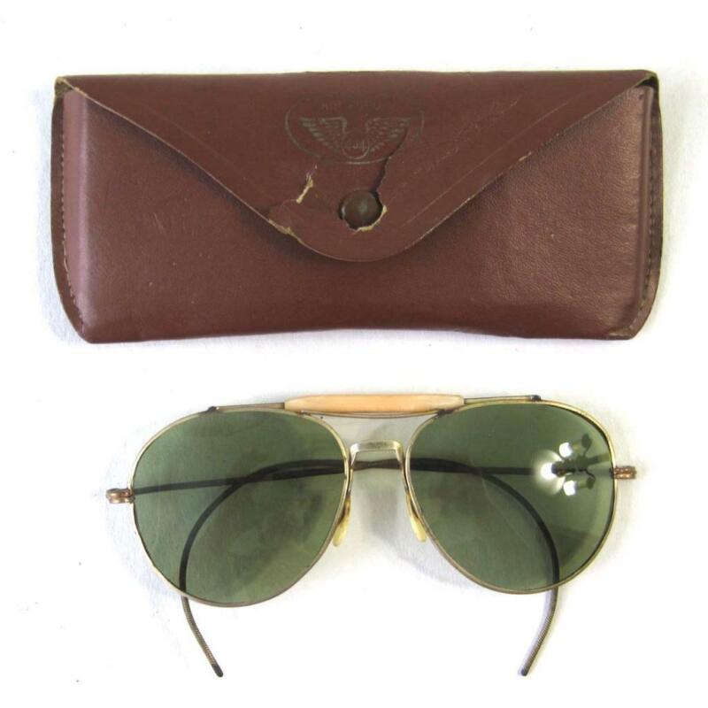 Vintage WWII Era US Army Aviator Sunglasses With Air Force 404 Case 1940s