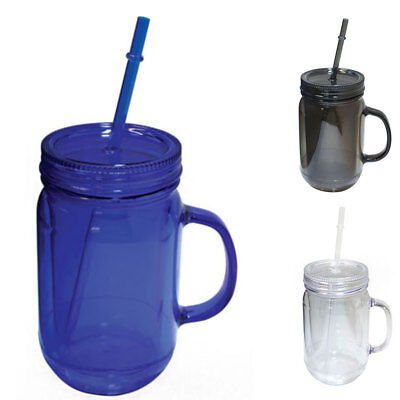 Straw Jar (100% BPA Free Mason Jar Cup Sports Bottle W/Straw Double Wall Water Drink)