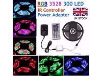 NonWaterproof 5M 300 LED 3528 RGB SMD Strip Light 12V + Remote Controller + Power Supply Wedding