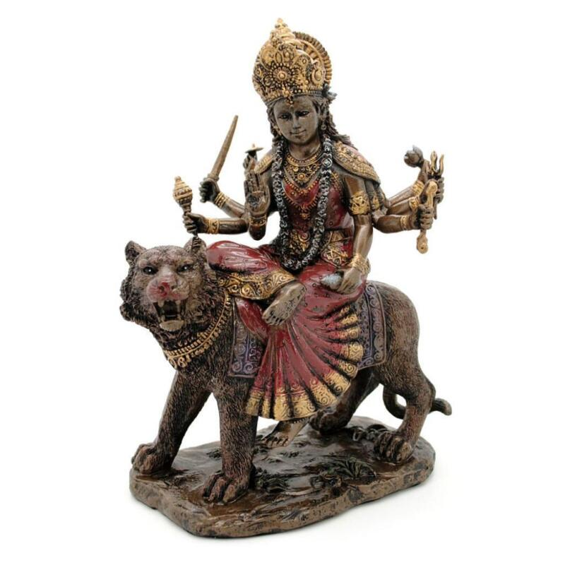 "DURGA STATUE 8.25"" Hindu Divine Mother Goddess GOOD QUALITY Bronze Color Resin"