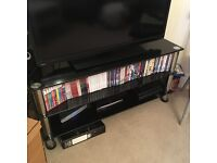 AVF Universal TV Stand - Black Glass and Chrome Legs