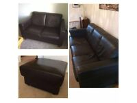 BROWN LEATHER 3+2+FOOTSTOOL FOR SALE - FREE DELIVERY SOME AREAS - £275