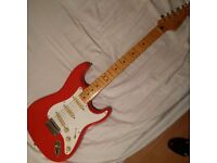 Squier by Fender Classic Vibe 50s Stratocaster Fiesta Red Electric Guitar with Gig Bag