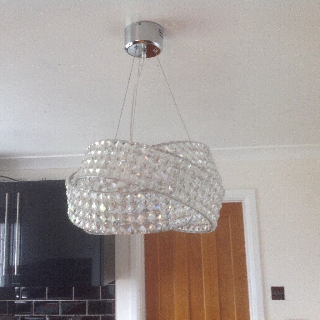 Ceiling Chandelier Light from Next (Solid clear glass) exc cond ...