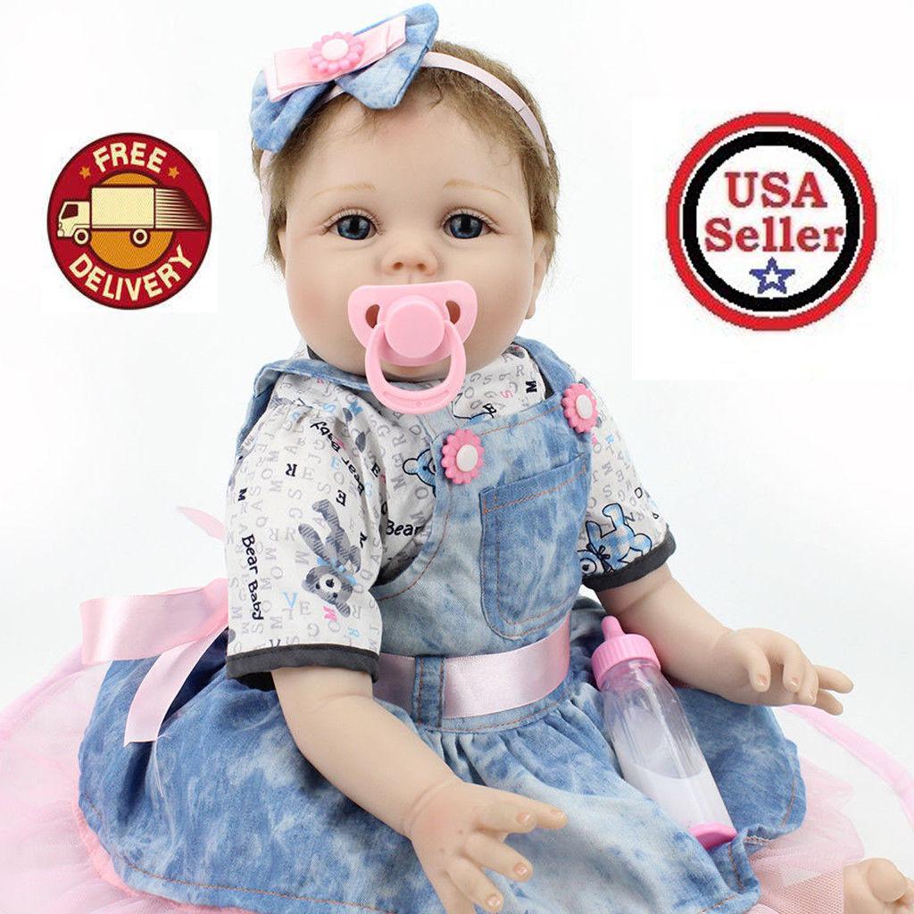 "22"" Handmade Real Looking Baby Girl Soft Vinyl Realistic Life Like Reborn Dolls"