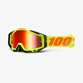 New Adult 100% Racecraft Goggles Motocross Attack Yellow Mirror Red Lens Tearoff