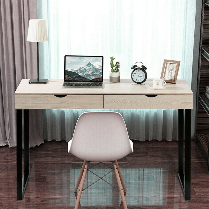Computer Desk Writing Study PC Laptop Table Home Office W// 2 Drawer Workstation