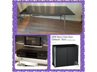 Black gloss furniture package table, tv unit and sideboard