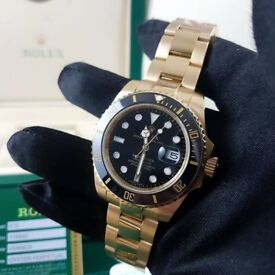 New Mens bagged Gold Bracelet Black Face ceramic bezel automatic Rolex Submariner watch with green