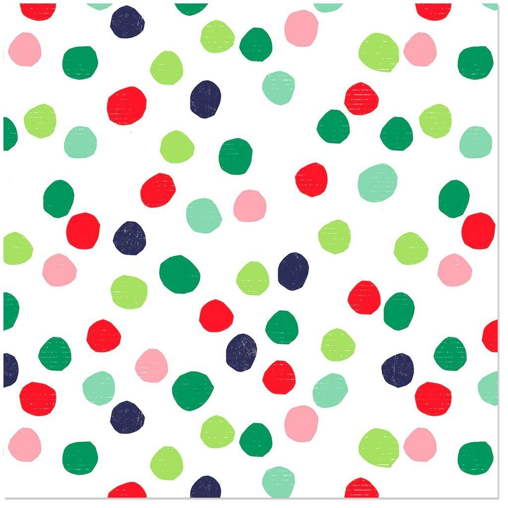Hallmark Wrapping Paper Roll Christmas Watercolor Dots 45sq