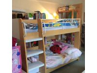 Julian Bowen Domino wooden Bunk beds with maple finish + Shelves + 2 mattresses