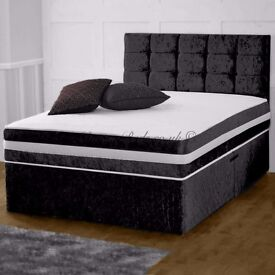 """SILVER CREAM AND BLACK COLOR:: NEW CRUSH VELVET DOUBLE DIVAN BED WITH 10"""" ORTHOPEDIC MATTRESS"""
