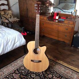 Semi-acoustic guitar for sale.