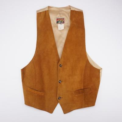NEW ZEALAND OUTBACK Genuine Leather Lined Vest Copper Mens MEDIUM