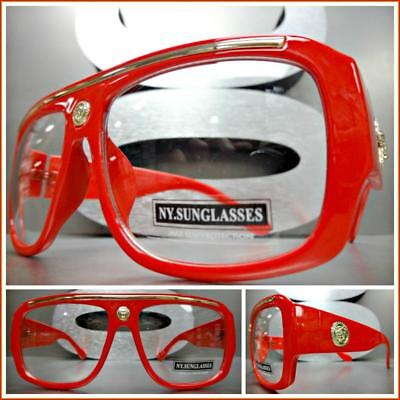 Men's CLASSIC RETRO HIP HOP RAPPER Style Clear Lens EYE GLASSES Thick Red Frame