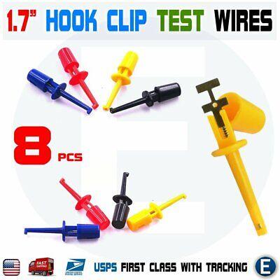 8pcs 1.7 Multimeter Lead Wire Kit Test Hook Clip Grabbers 4 Colors Test Probe