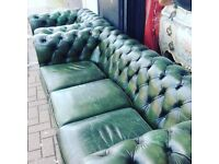 Reduced Leather Chesterfield sofa &chair