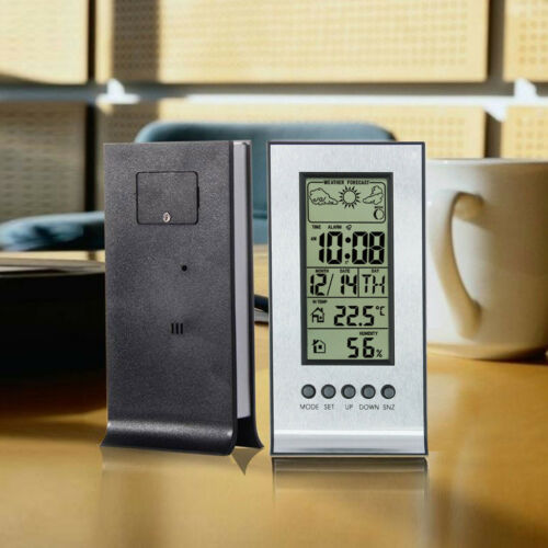 Indoor Outdoor Wireless Weather Thermometer Station Daily Clock Snooze Forecast
