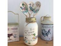 3 Shabby Chic Decorative Wooden Spoons in Mason Jar - Cath Kidston Ducks Print
