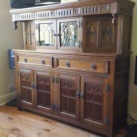 Old Charm oak sideboard and Old Charm hi fi cabinet