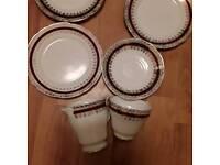 Bone china cup, saucer, milk jug, three side plates Salisbury pottery, sarum design