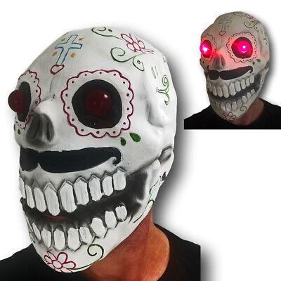 Zuckerschädel Maske Rot LED Augen Tag der Toten Bond Halloween Kostüm (Zucker Schädel Maske Kostüm)