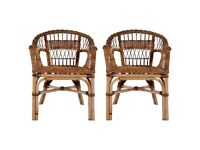 Outdoor Chairs 2 pcs Natural Rattan Brown-275842
