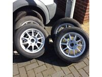 set of alloy wheels with tyres 185x60x14 6jx14 4 stud H2 E2H